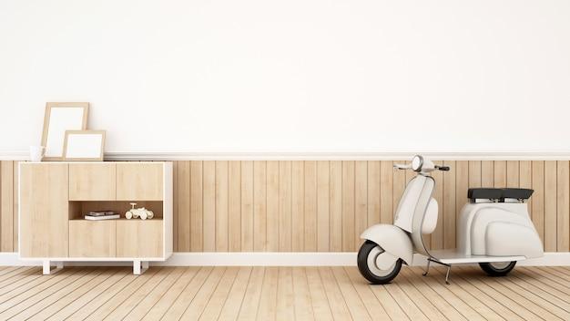 Motocicleta na sala de estar - renderização em 3d