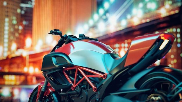 Motocicletas estão na cidade à noite.