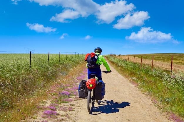 Motociclista, em, via la plata, maneira, extremadura, espanha