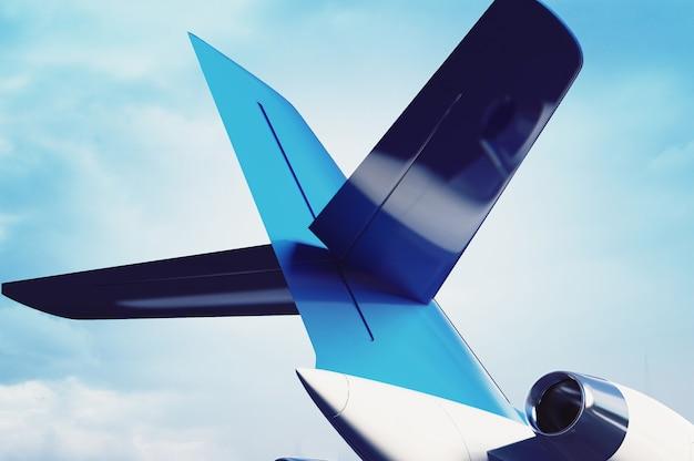 Motor a jato de avião particular com uma parte de uma asa