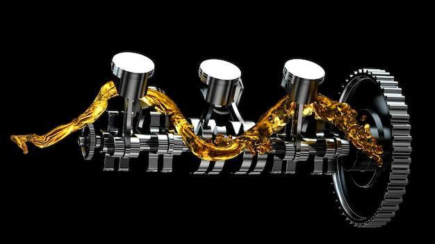 Motor com óleo lubrificante na reparação