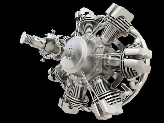 Motor de combustão interna de aeronaves circulares antigas. renderização em 3d.