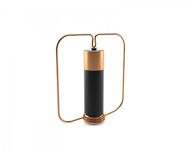 Motor homopolar com bateria e fio de cobre