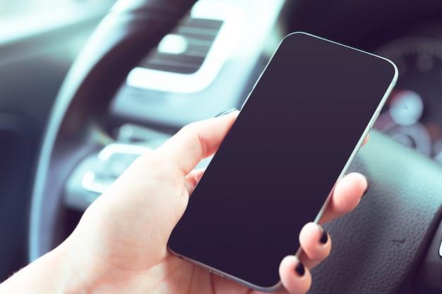 Motorista, com, um, telefone pilha