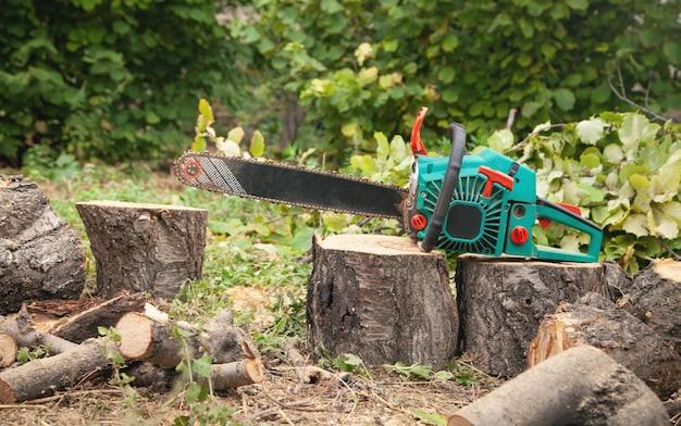 Motosserra em toras cortadas na floresta. corte de árvore