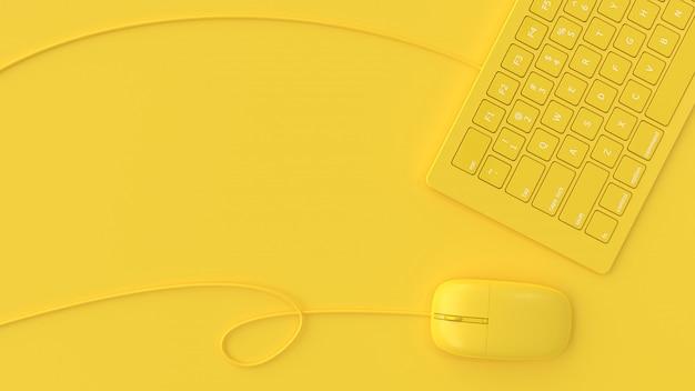 Mouse ao lado do teclado cor amarela na vista superior de fundo amarelo