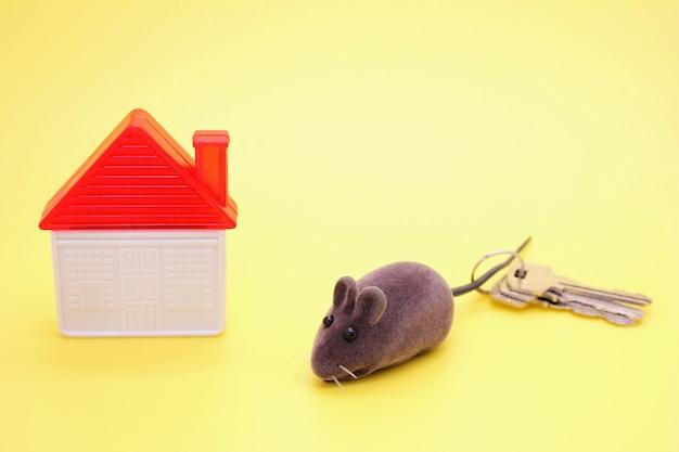 Mouse de brinquedo - um símbolo do ano novo, ao lado de uma casa de brinquedo de plástico e chaves reais da casa.