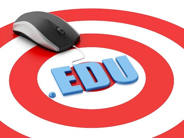 Mouse de computador 3d e palavra edu no alvo