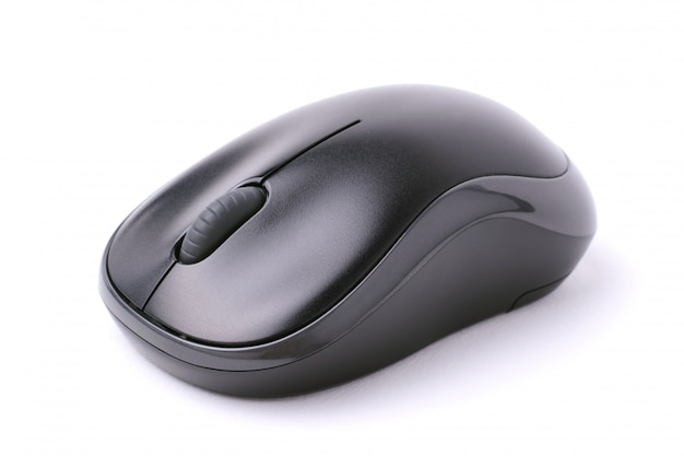 Mouse de computador sem fio preto isolado