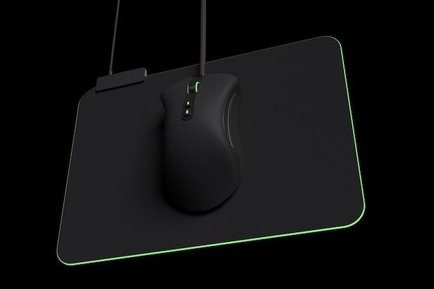Mouse para jogos moderno em pad profissional em fundo preto com traçado de recorte