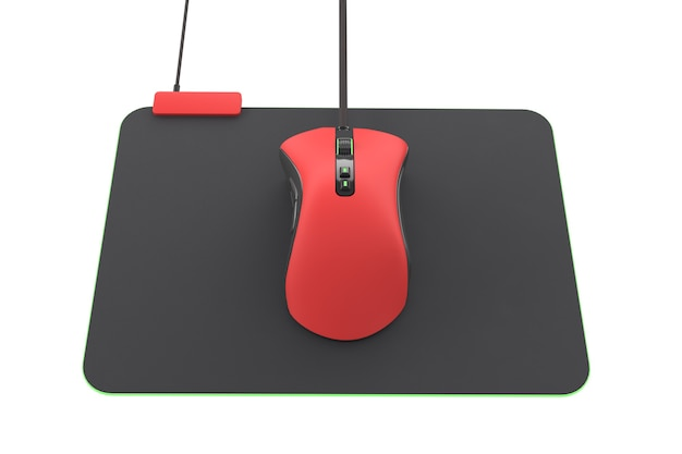 Mouse para jogos vermelho moderno em pad profissional isolado no branco com traçado de recorte