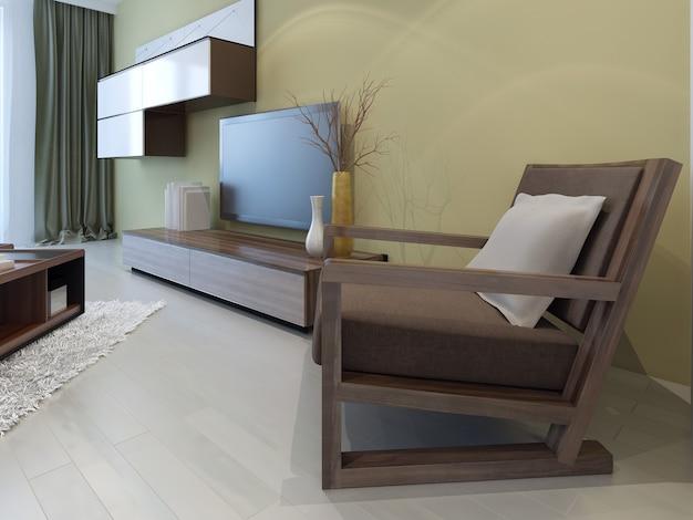 Móveis aconchegantes em sala de estar moderna