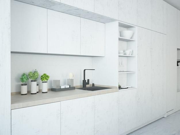Móveis de cozinha brancos com padrão de mármore