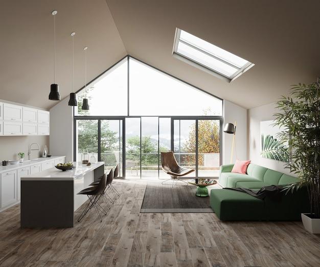 Móveis de cozinha e sala de estar no design moderno de casa de fazenda 3d render