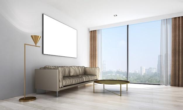 Móveis de decoração moderna e sala de estar e tela vazia na textura da parede design de interiores
