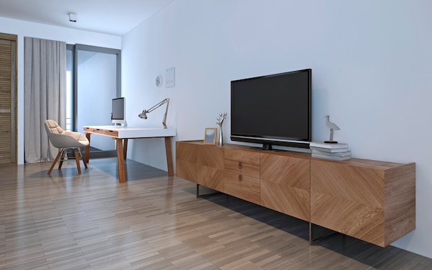 Móveis de madeira na sala branca. renderização 3d