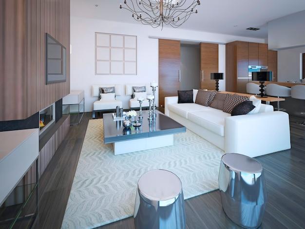 Móveis modernos na grande sala de estar aconchegante em lindo apartamento com paredes brancas.