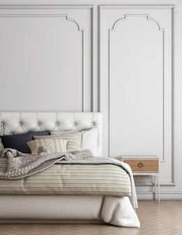 Móveis para casa e decoração simulam design de interiores de sala de estar e estilo de cama de luxo e fundo de parede vazio.