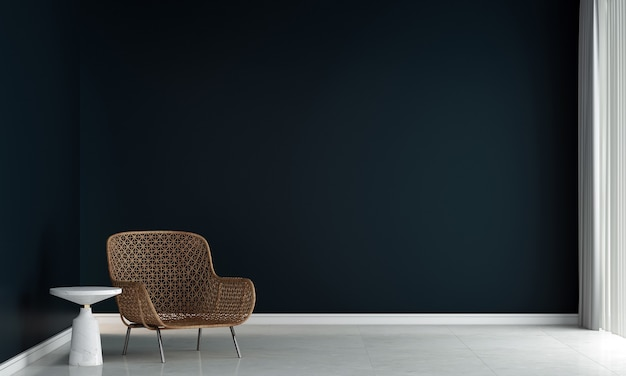 Móveis para casa e decoração simulam design de interiores de sala de estar e estilo minimalista de cadeira e fundo de parede preta vazia. renderização em 3d
