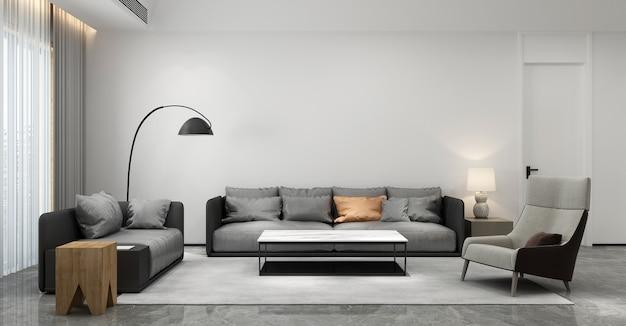Móveis para casa e decoração simulam design de interiores de sala de estar moderna e estilo minimalista de sofá e fundo de parede vazio.
