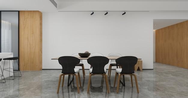 Móveis para casa e decoração simulam design de interiores de sala de jantar e estilo minimalista e fundo de parede vazio. renderização em 3d