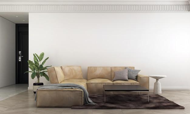 Móveis para casa e decoração simulam design de interiores de uma sala de estar aconchegante e estilo minimalista de sofá e fundo de parede vazio.