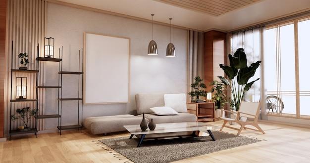 Móveis para sofás, quarto moderno com design japonês, renderização minimal.3d