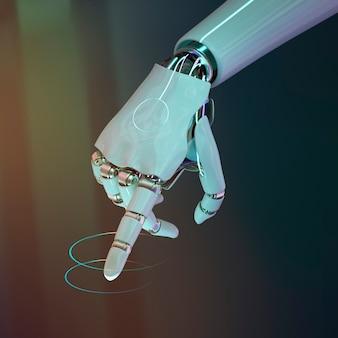 Movendo dedo de mão de ciborgue, robô habilidoso de inteligência artificial