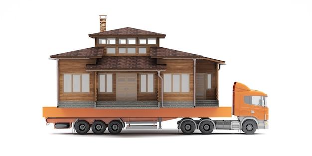 Movendo uma casa grande com um caminhão