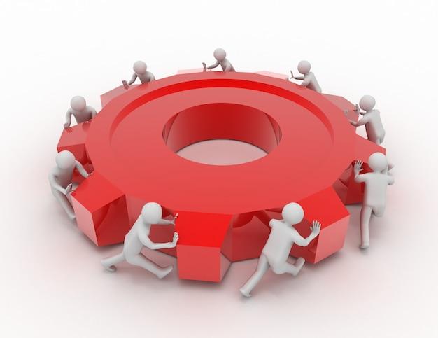 Movimento de grupo de equipe humana. conceito de trabalho em equipe. ilustração renderizada 3d