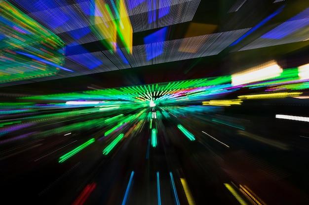Movimento de lâmpadas azuis e verdes