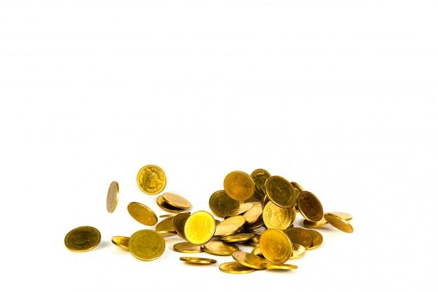 Movimento de moedas de ouro caindo, moedas voadoras