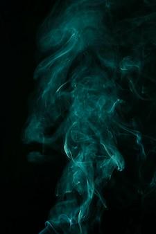 Movimento, de, turquesa, fumaça, espalhar, ligado, experiência preta