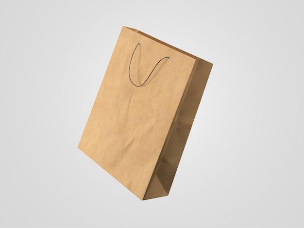 Movimento dinâmico de sacola de compras de papel 3d