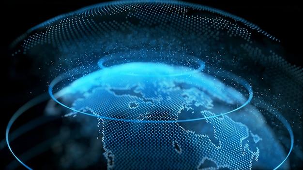 Movimento terra globo digital superfície transparente rotação planeta