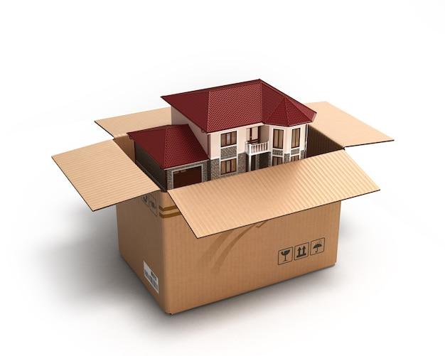 Mudança de casa. mercado imobiliário. imagem tridimensional. renderização 3d Foto Premium