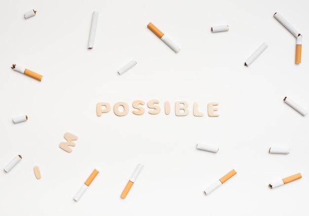 Mudando a palavra impossível para possível para deixar de fumar conceito