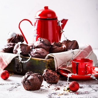 Muffins de chocolate no natal