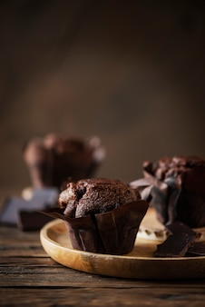 Muffins doces com choccolate