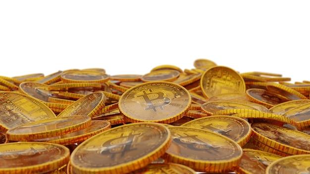 Muita pilha de fundo dourado do bitcoin. renderização 3d