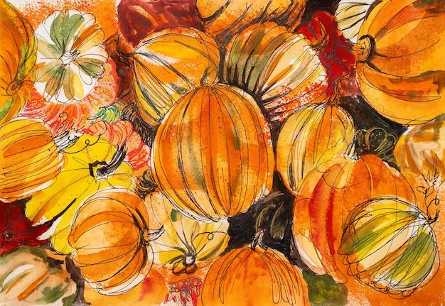 Muitas abóboras laranja fundo aquarela