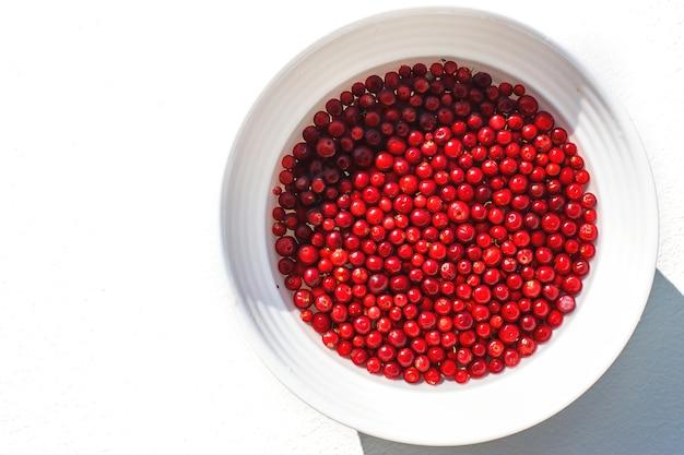 Muitas bagas de mirtilo vermelho no prato branco