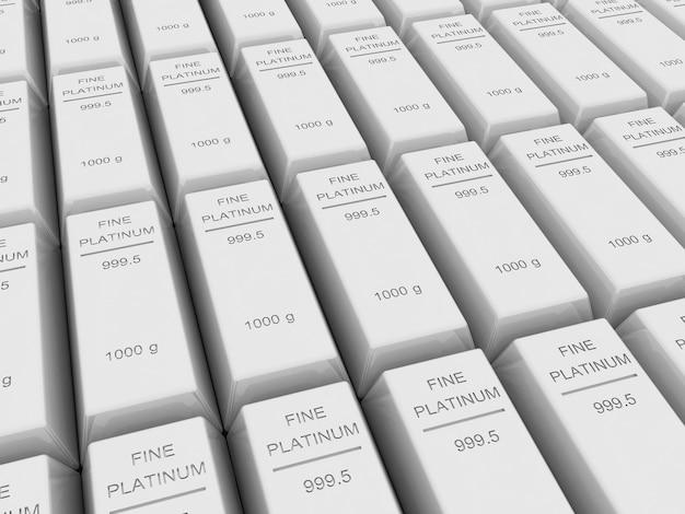 Muitas barras de platina ou lingotes, renderização em 3d