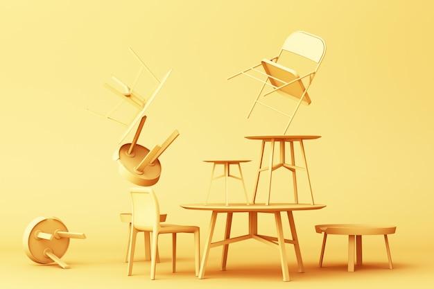 Muitas cadeiras e mesa de centro na rendição 3d do tom amarelo da cor