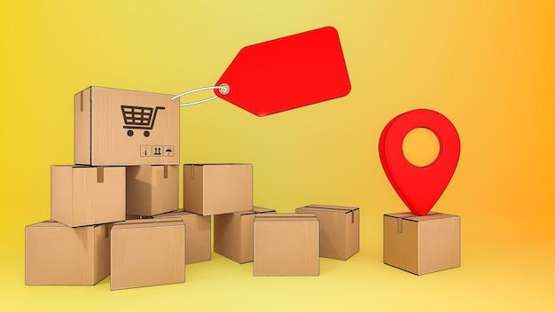 Muitas caixas de pacotes com etiqueta de preço e indicadores vermelhos, serviço de transporte de pedidos de aplicativos móveis online e conceito de compras online e entrega, renderização 3d.