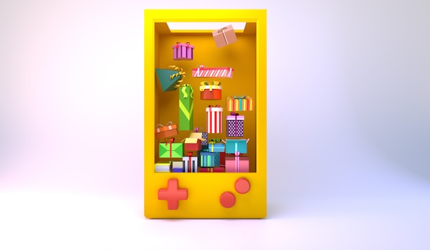 Muitas caixas de presente flutuam em uma caixa grande, em forma de gameboy. ideia mínima. 3d render.