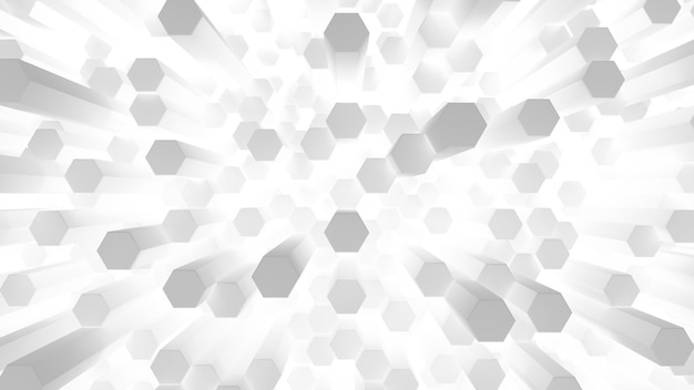Muitas células de bastonetes hexagonais brilhantes
