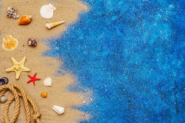 Muitas conchas diferentes, corda e glitter azul como o mar