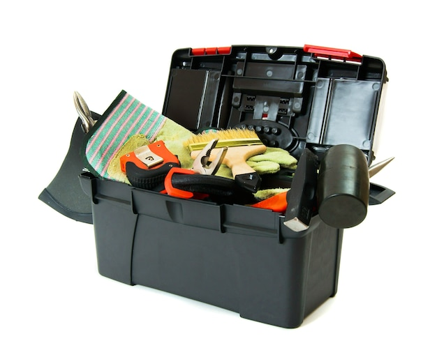 Muitas ferramentas de trabalho na caixa em branco