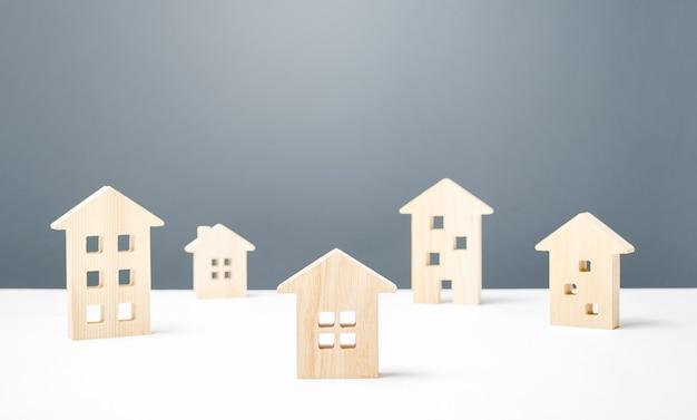 Muitas figuras de madeira de edifícios residenciais moradia confortável a preços acessíveis estudos urbanos e ciência boa vizinhança moderna